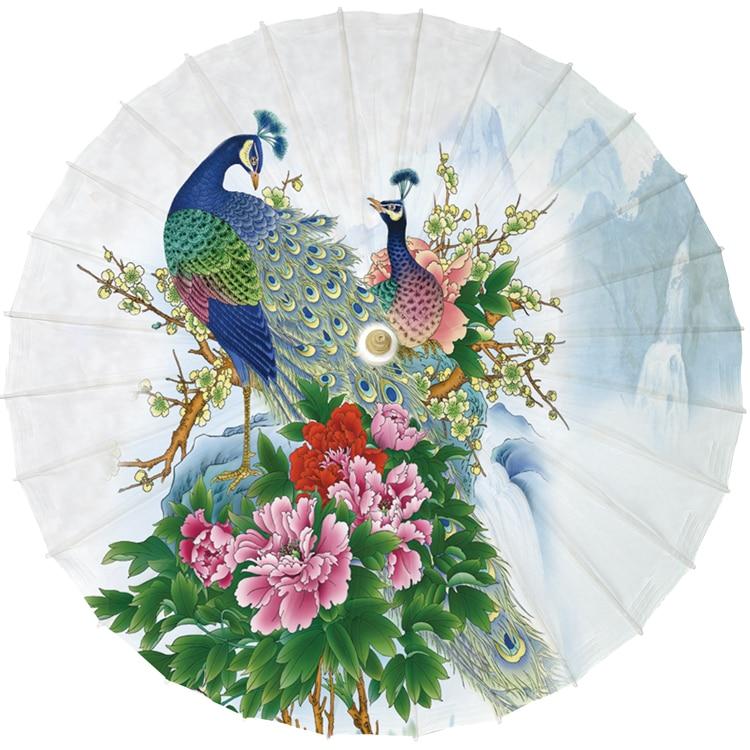 84CM bosque Pavo Real flor pájaro paraguas de papel de petróleo Retro Jiangnan Cheongsam trajes Hanfu baile sombrilla de papel de bambú paraguas artesanal