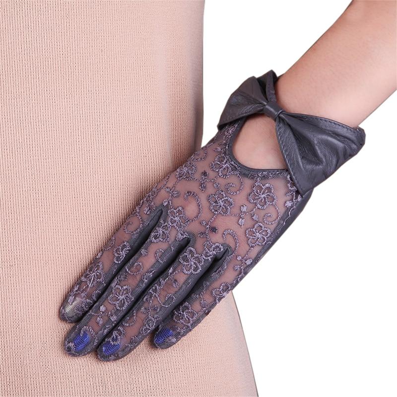 Women Genuine Leather Gloves Female Fashion Bowknot Lace Sunscreen Lambskin Touchscreen L177N-1