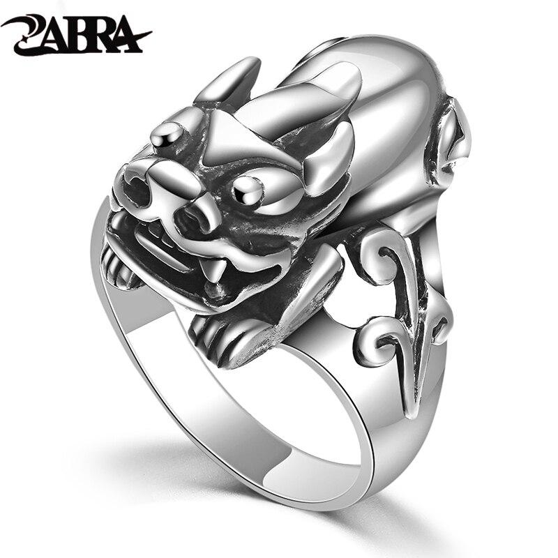 Мужское Винтажное кольцо ZABRA, из серебра 925 пробы с эмблемой удачи, в стиле панк