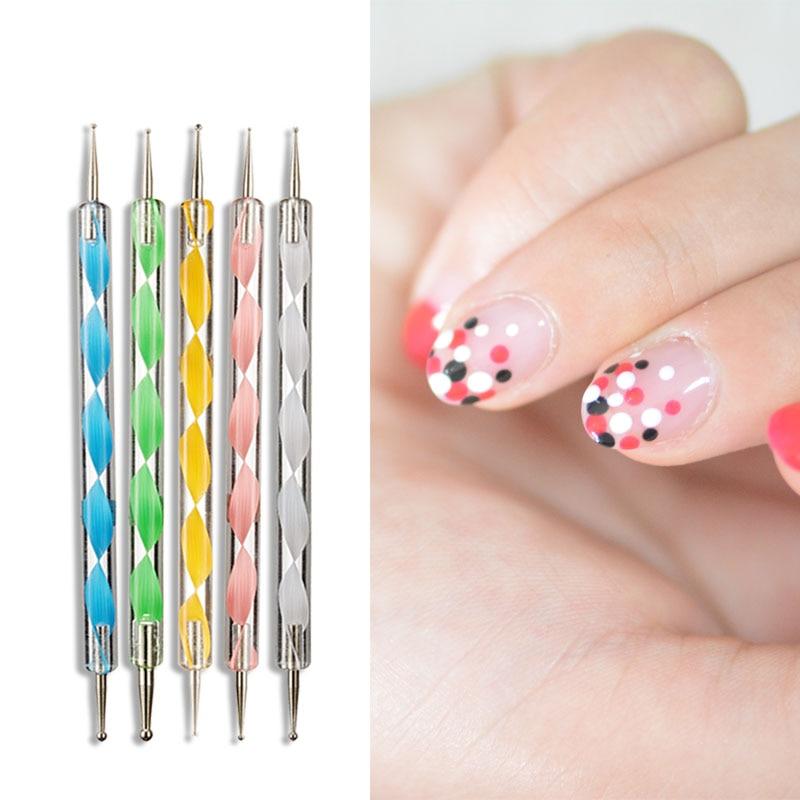 Arte de uñas pluma que puntea 5 unids/lote doble-uv esmalte de uñas de gel de colores remolino Marbleizing de acero diseño de uñas