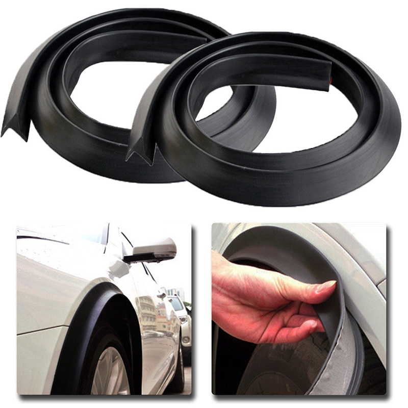 2pcs Universal Car Splash Guard Fender Flare Extension Wheel Eyebrow Moulding Trim Wheel Arch Strip Suitable for all cars