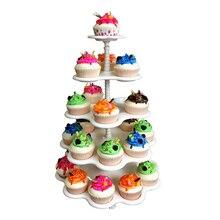 5-Tier Plastic Cupcake Holders Creative Wedding Party Decoration Macaron Tower Cakes White Display Stand Storage Dessert Racks