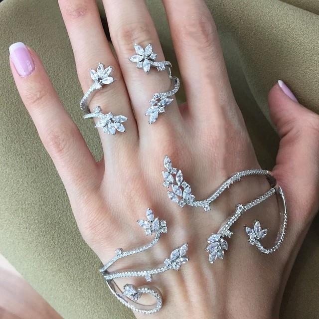 Solid Silver Fashion of fatima finger ring hand chain harness slave women New Multi Chain Harness Finger Bangles For Women