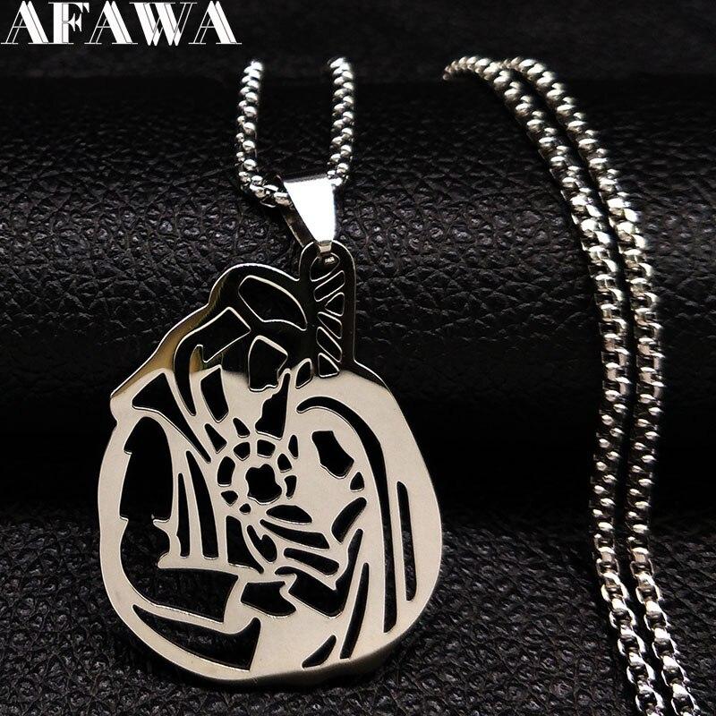 2020 arábia saudita islam família colares de aço inoxidável para as mulheres cor prata colares pingentes jóias kolye bayan n18518