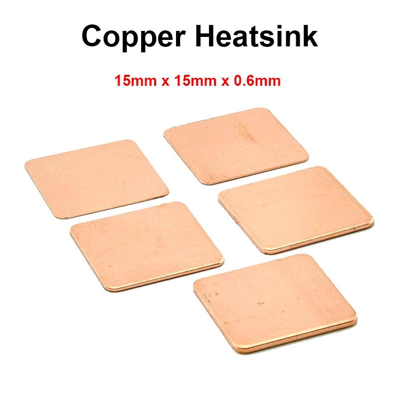 10pcs/lot 15x15x0.6mm DIY Copper Shim Heatsink thermal Pad Cooling for Laptop BGA CPU VGA Chip RAM IC Cooler Heat sink