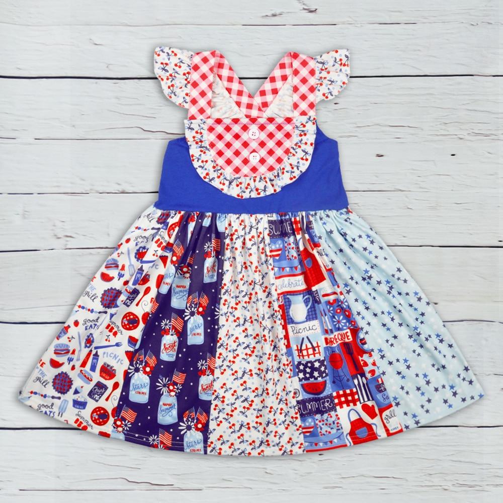 4 de Julio Boutique ropa vestido sin mangas de niñas bebé Remake ropa niñas Ruffle vestidos Match Romper LYQ903-633