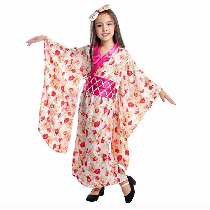 Niños Kimono japonés tradicional Geisha Cosplay disfraz chicas asiáticas Anime Halloween fiesta ropa para niños