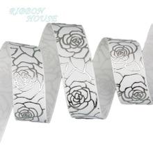 (10 yardas/lote) 22mm floral Blanco estampado caliente plata lámina grogrén cinta Regalo boda cintas rollo