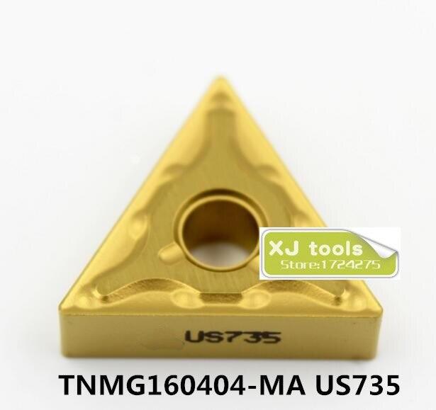 10 шт. TNMG160404-MA US735/TNMG160408-MA US735 карбидные вставки для MTJNR/MTQNR/MTJNR, токарные лезвия для нержавеющей стали