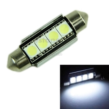 Super Bright White 39MM 4 5050 Canbus Error Free Festoon Dome LED Light Bulb 12 V lighting 1PC Oct Whosale&DropShip
