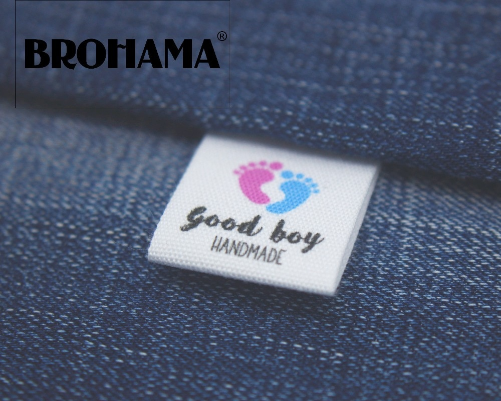 Custom folding labels / custom brand labels, clothing labels, Child footprint (MD005)
