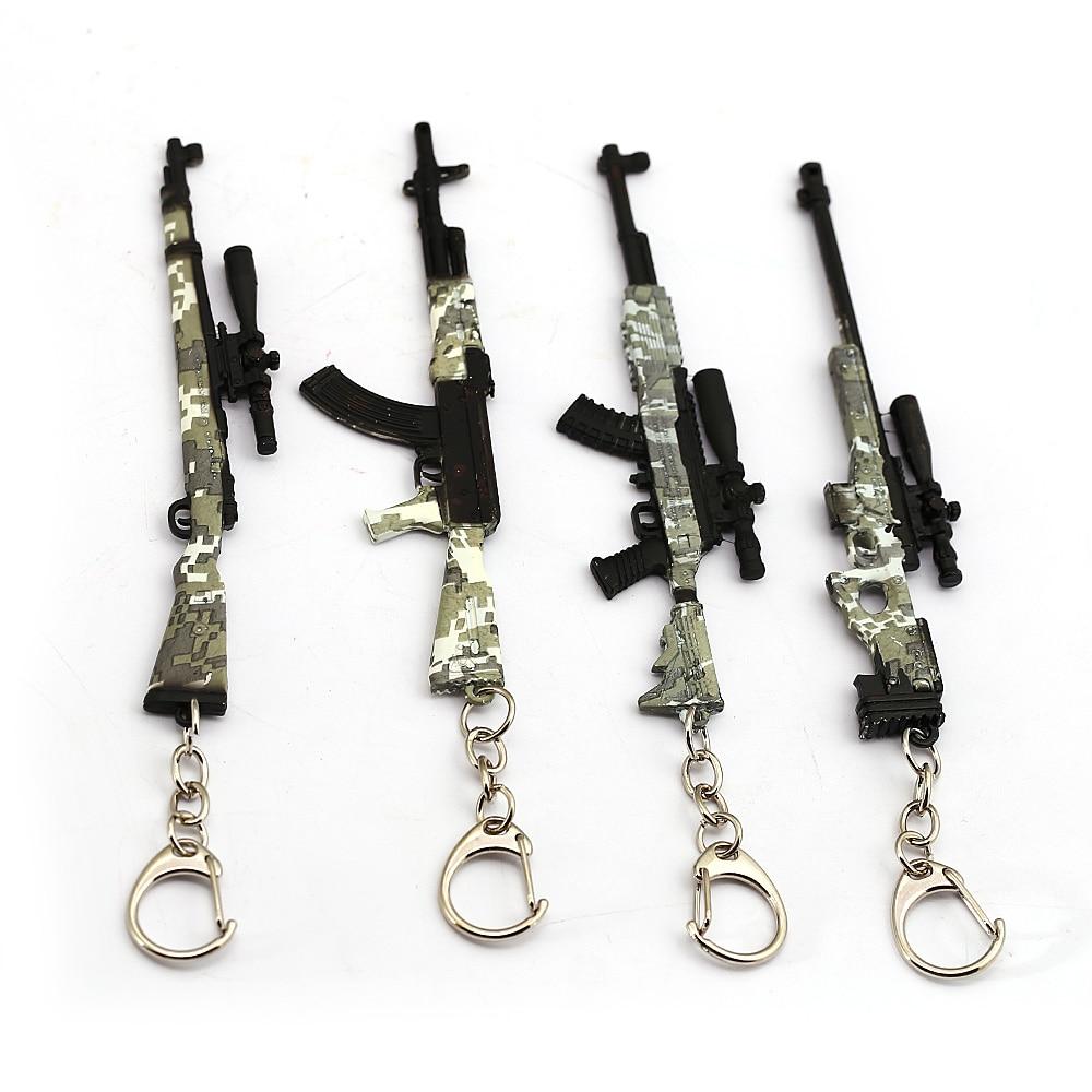 Llavero Playerunknowns Battlegrounds juego PUBG camuflaje modelo de pistola de juguete llavero bolsa llavero con colgante joyería Chaveiro