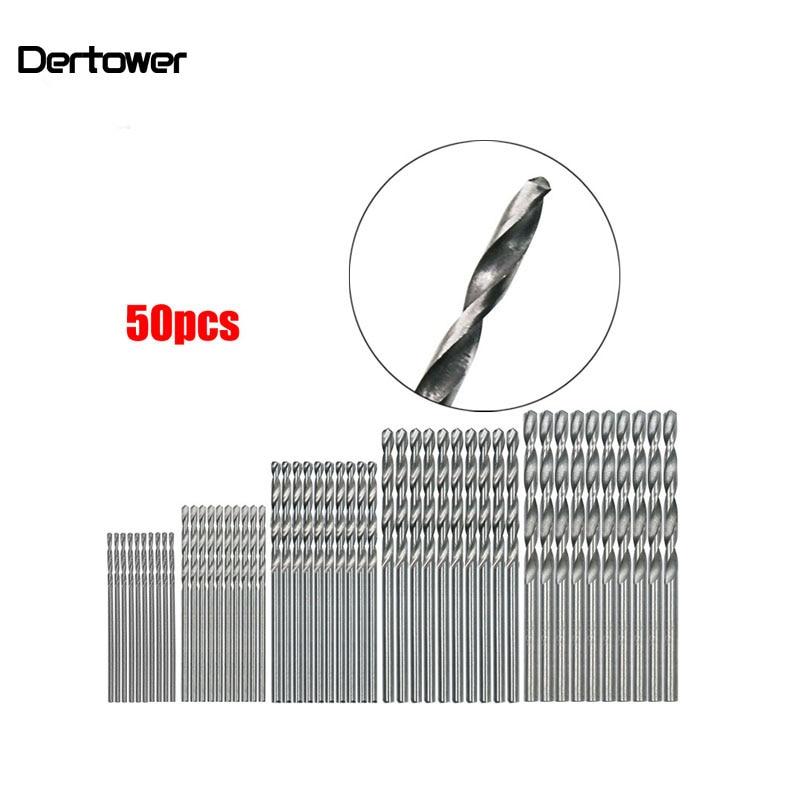 50Pcs HSS 4241 High Speed Steel Drill Bit Set Tool 1mm 1.5mm 2mm 2.5mm 3mm    DT6