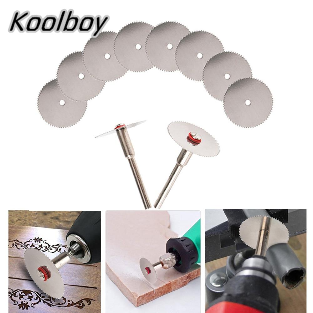 12pcs/set 10Pcs 22/25/32mm Wood Cutting Circular Saw Blade Disc+2x Rod Rotary Cutting Tool