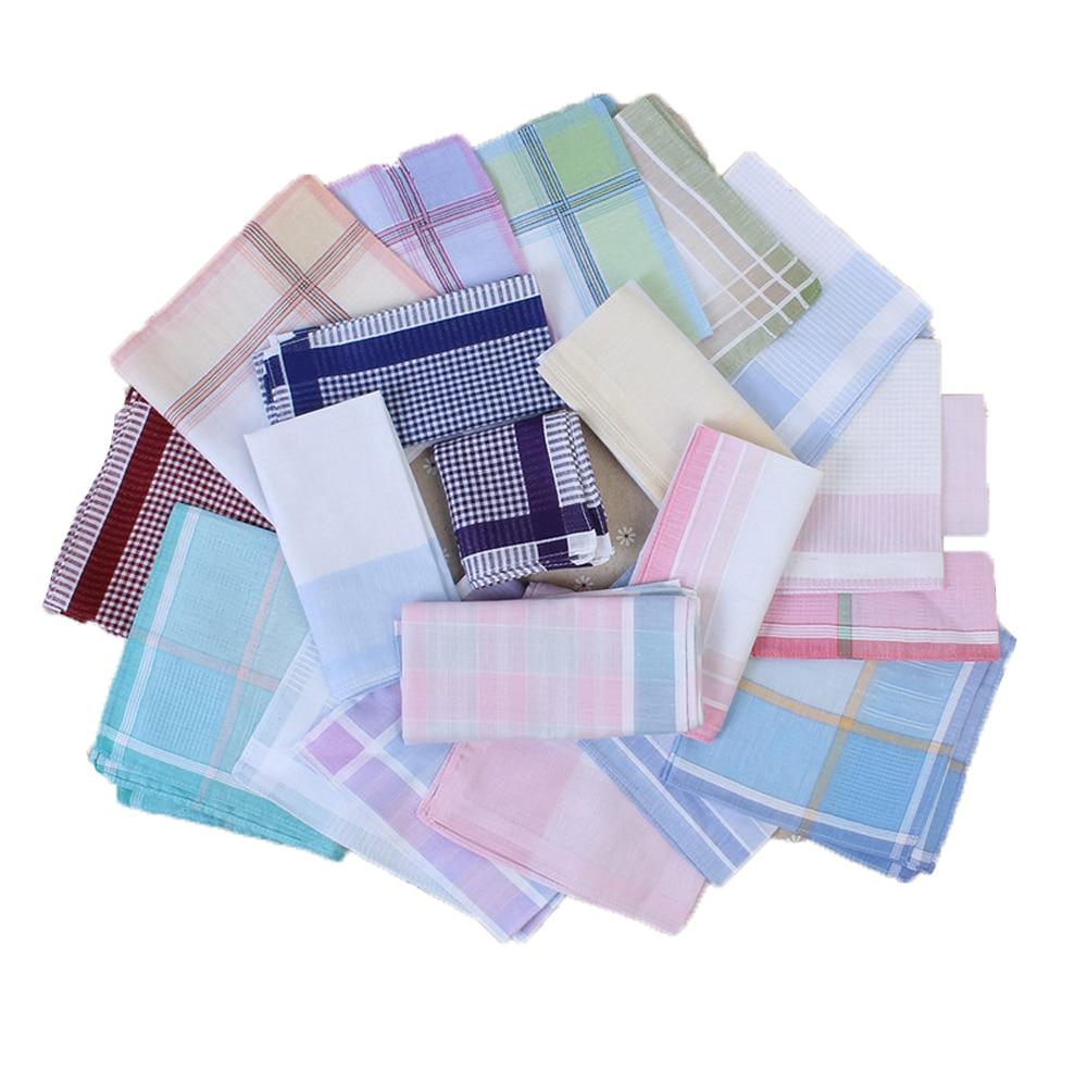 10Pcs Striped Plaid Handkerchief Cotton Printing Hanky Men's Business Pocket Square Towel 29*29CM Wedding Hankies10