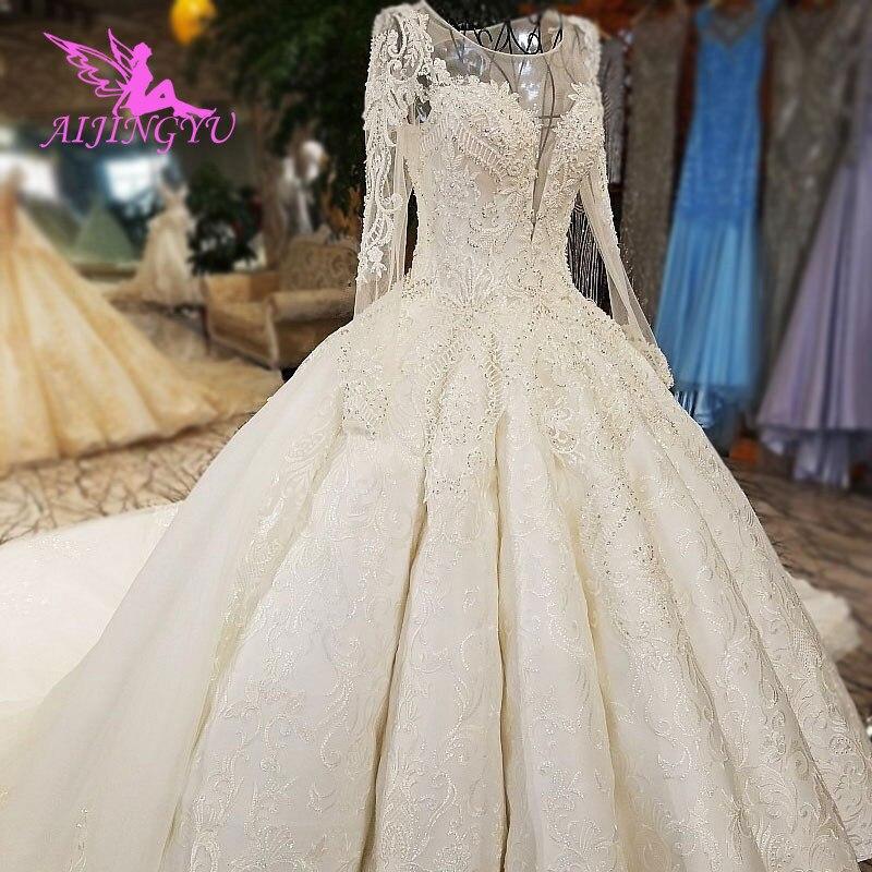 AIJINGYU-فستان زفاف ساتان عاجي ، فستان زفاف فاخر مع تقليم مكشكش ، دانتيل ، قطار طويل