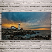 Portland lumière de tête de phare seascape rock sea shore   Décoration de salon, décor dart pour la maison, affiche cadre en tissu et bois KH893