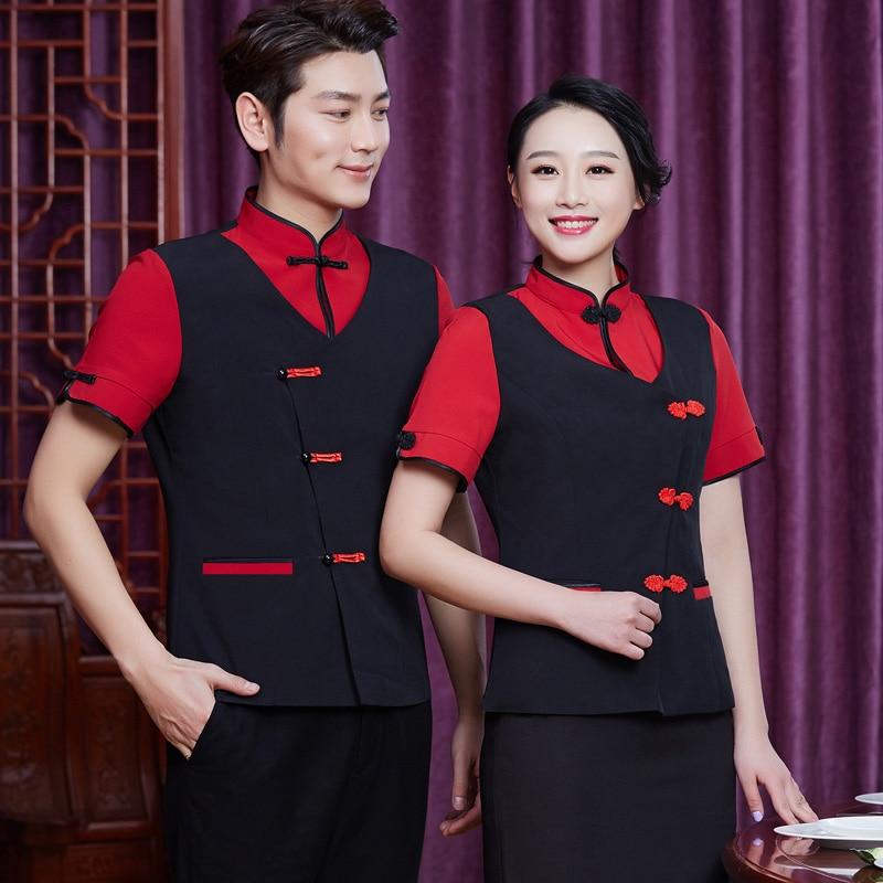 Rozaduras plato tienda camarero ropa de trabajo de verano de manga corta de restaurante chino uniforme camarera de hotel ropa barata
