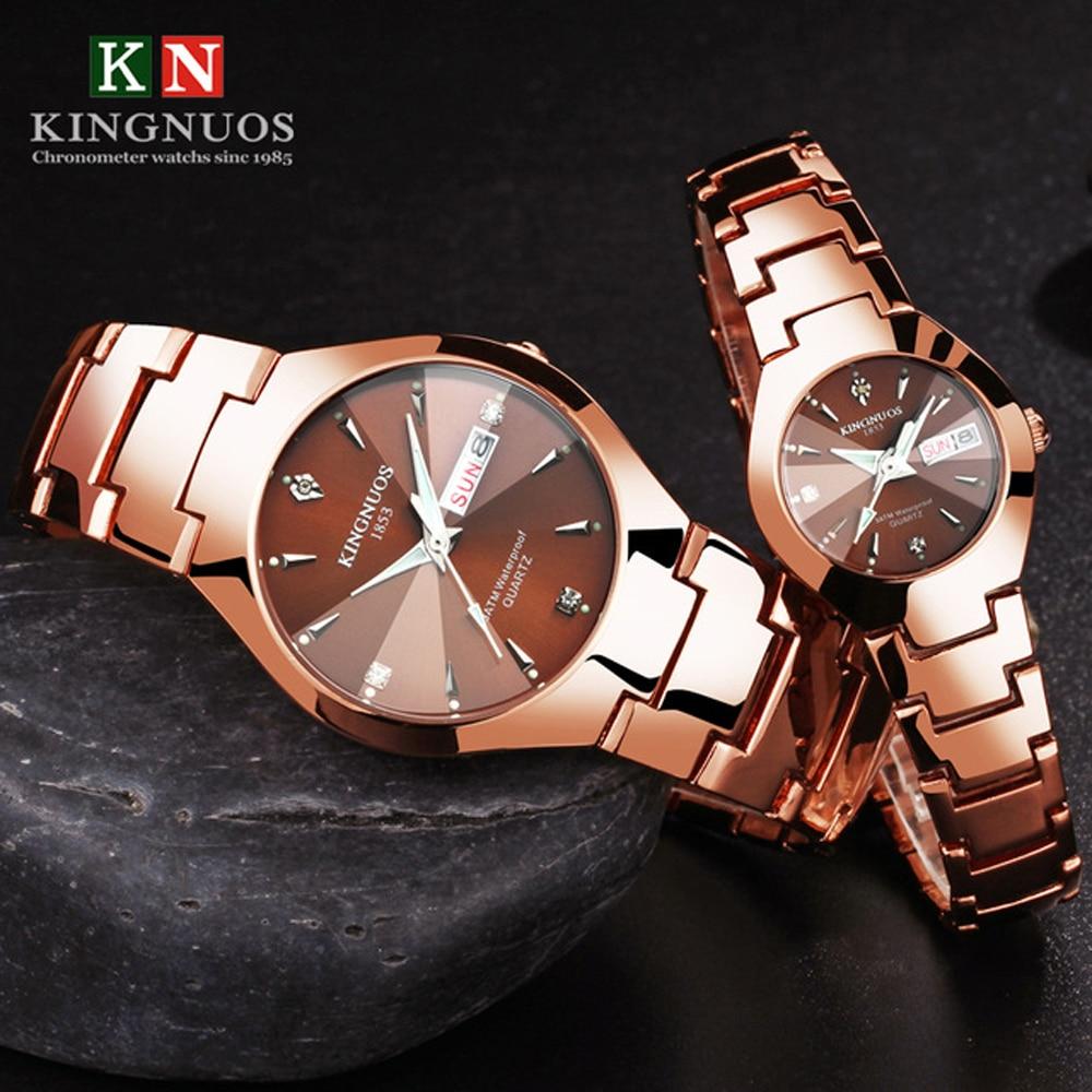 Lovers Watches Luxury Quartz Wrist Watch for Men and Women Hodinky Dual Calender Week Steel Saat Rel