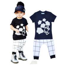 High Quality Summer Kids Girl Clothes Set Cartoon Flower Stripe T Shirt+Plaid Pants 2pcs Set Brand B