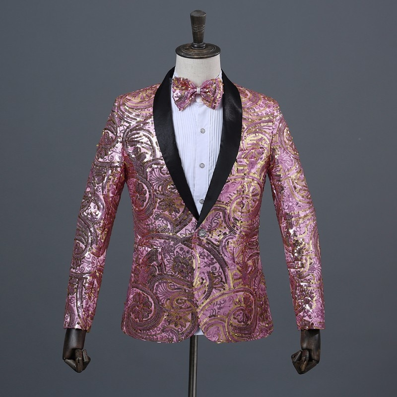 Mens Pink Gold Flower Sequins Fancy Paillette Wedding Singer Stage Performance Suit Jacket Annual DJ Blazer With Bow Tie