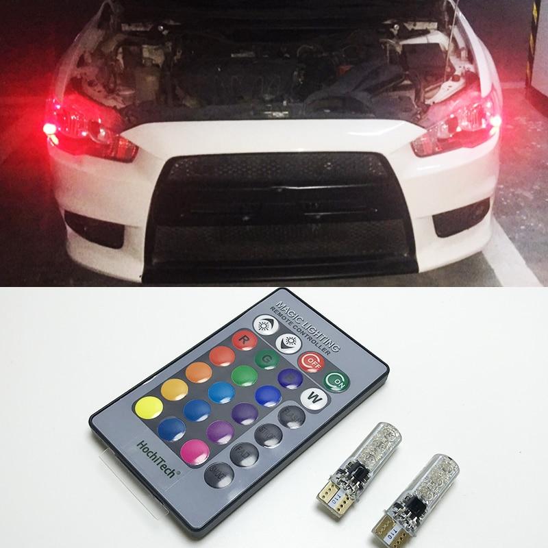 2 piezas T10 W5W luces LED de coche bombillas LED RGB con Control remoto 194, 168 de 501 estroboscópica Led lámpara luces de lectura blanco ámbar rojo 12V 12V