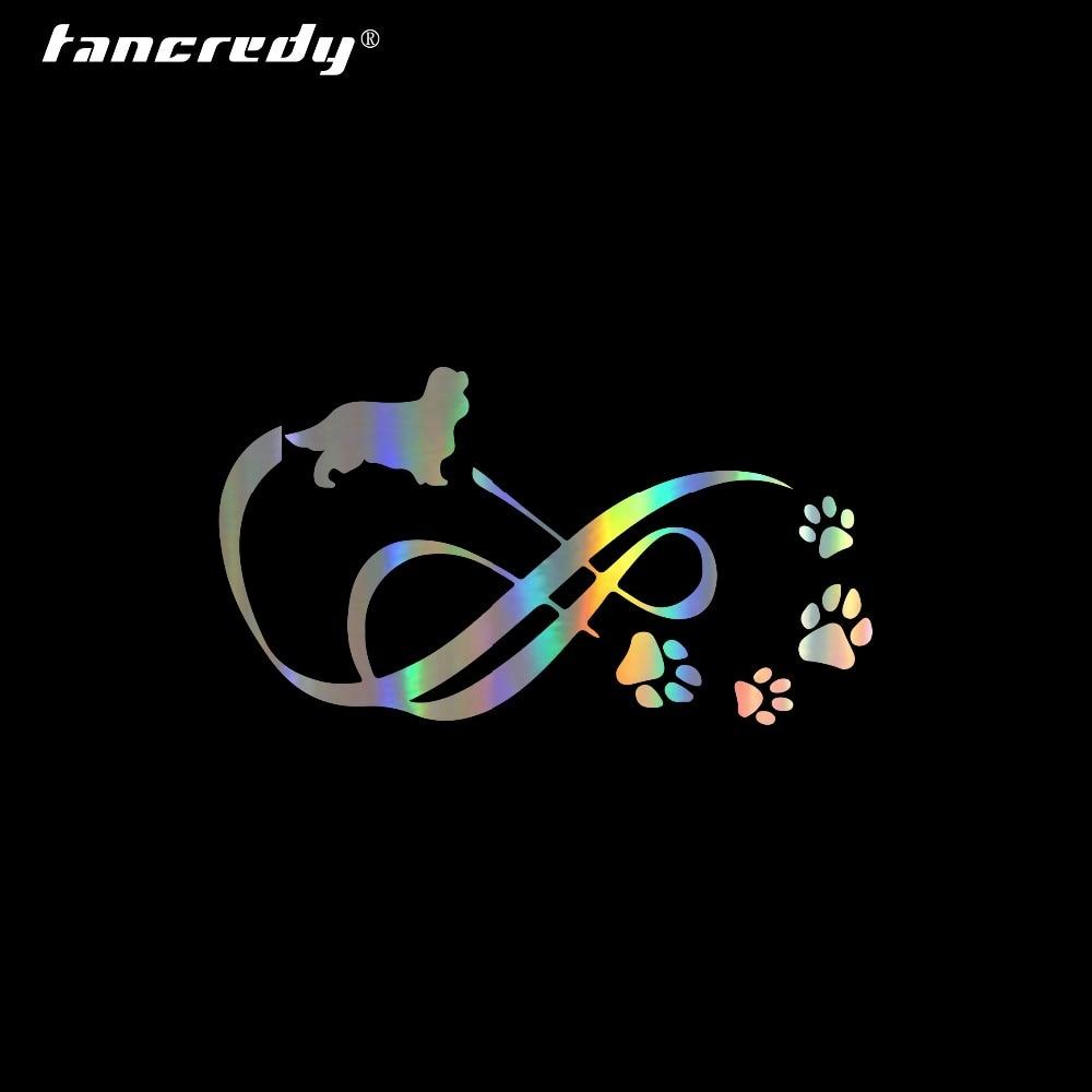Tancredy 18*10cm lindo mascota Cavalier Rey Charles Spaniel Animal pata estampado coche pegatinas de parachoques de estilo vinilo calcomanía accesorios de coche