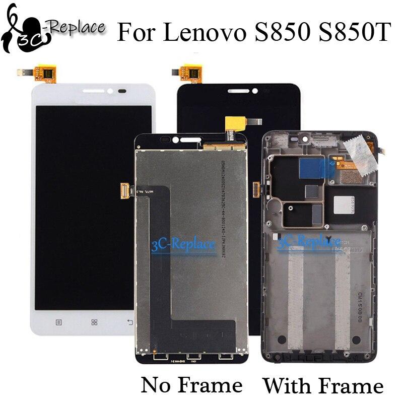 Alta calidad negro/blanco 5,0 pulgadas nuevo para Lenovo S850 S850T pantalla LCD + pantalla táctil digitalizador Asamblea con marco