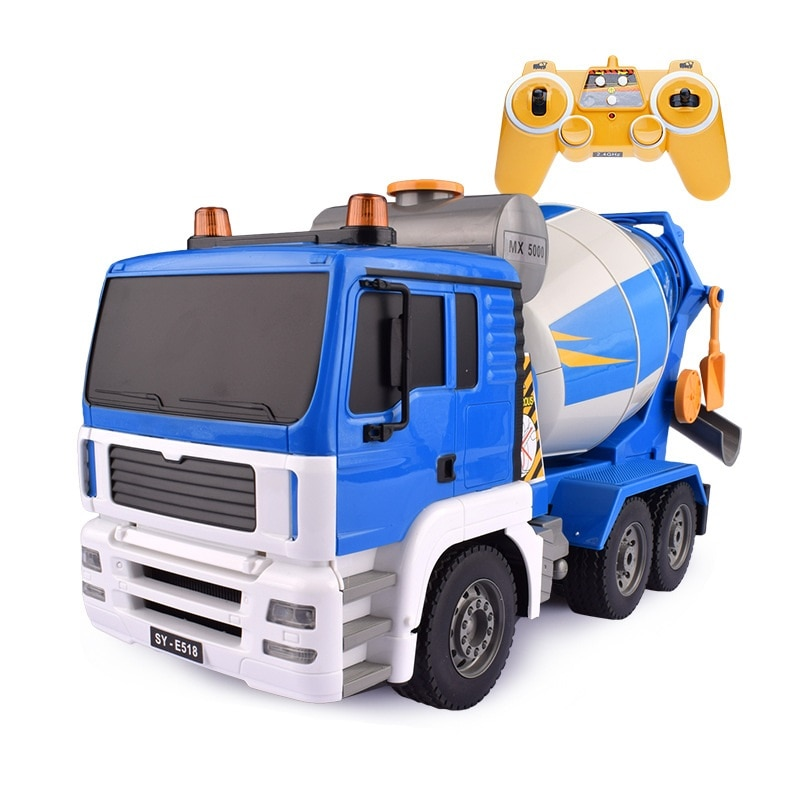 Large Electric remote control Mixer Model 2.4G Simulation Lighting Voice Wireless Control RC Roller truck cement Mixer Toy Gift
