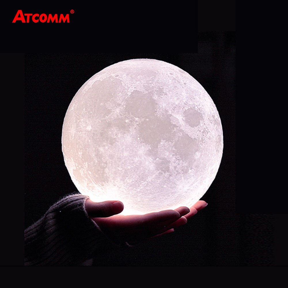 3D Print Moon LED Table Lamps USB Chaged Touch/Remote Control LED Night Light 10 Levels Dimmable Wit