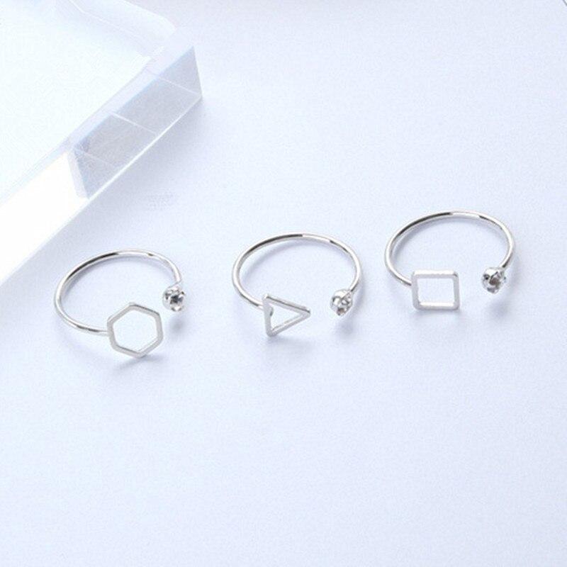 Anillo de compromiso de cristal con apertura de Color plata coreana, joyería para mujer, geometría Simple, triángulo cuadrado, diamantes de imitación, anillos de fiesta, regalo