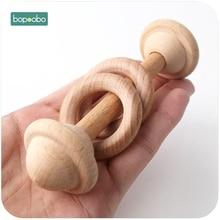 Bopoobo-anneau de dentition en bois   1 pièce, anneau de jeu, anneau de dentition pour bébé, mâcher, jouet poussette Montessori, jouet landau cadeaux, nouveaux crochets pour bébé