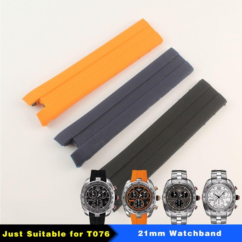 21mm (Buckle20mm) correa de goma de silicona negra azul naranja T076417 correa de reloj para hombre T076