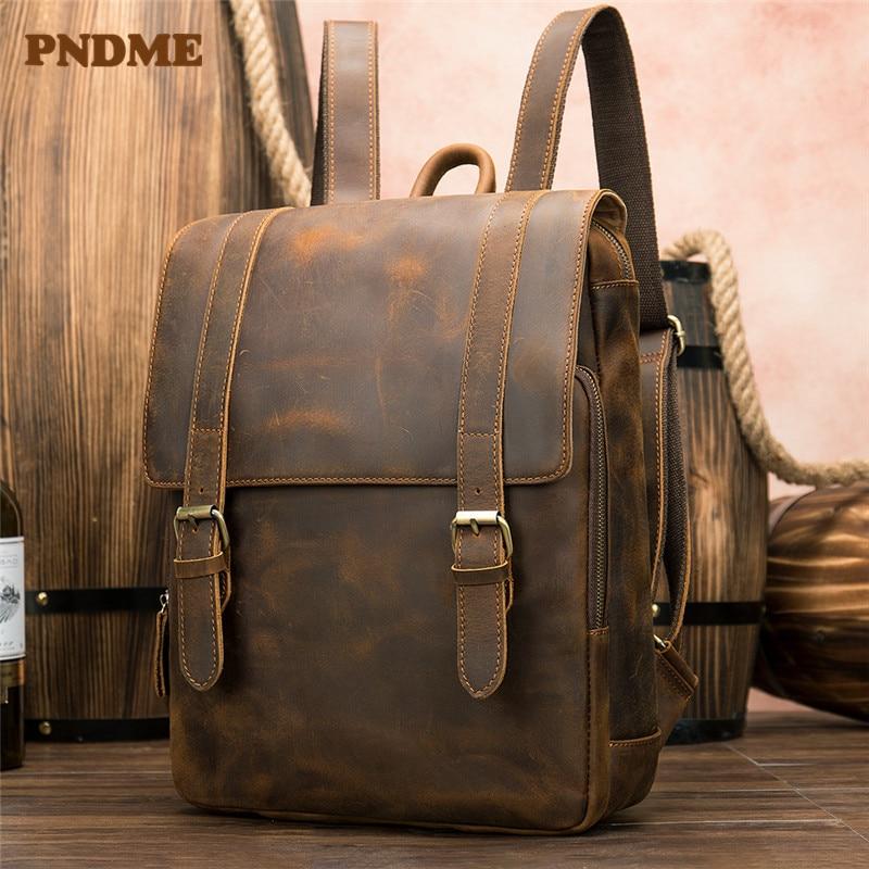 PNDME خمر مجنون الحصان الجلود الرجال على ظهره سعة كبيرة جلد طبيعي 14 بوصة محمول السفر bookbag للنساء