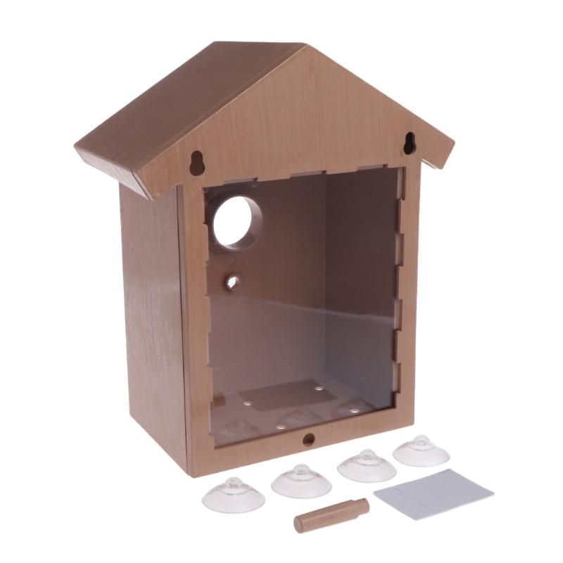 10*14*21,8 cm ABS,PS,PVC preservativo al aire libre pájaro nido de madera preservativo pájaro decoración pájaro casa jaula de pájaros de madera juguete