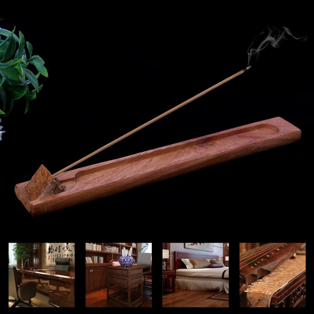 Templo budista Zen jardín útil Natural tablero de incienso de madera plana palo quemador titular hogar sala de estar regalo