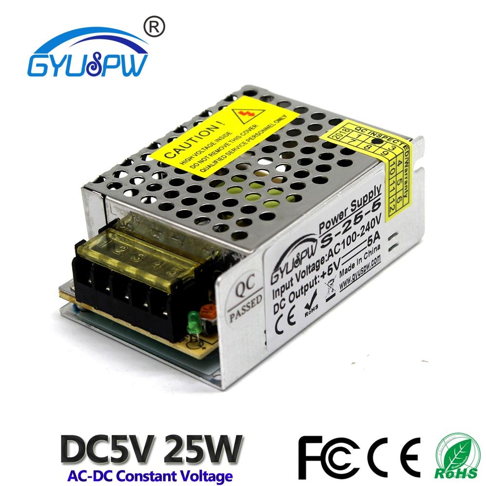 Transformador de fuente de alimentación de conmutación de salida única de pequeño volumen de 25W 5V 5A 110V 220V AC-DC SMPS para lámpara de tira CNC CCTV