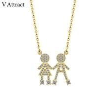V Attract Baby Charm Choker CZ Boy Girl Twins Children Kids Pendant Necklace Fashion Jewelry Gold Filled Gargantilha