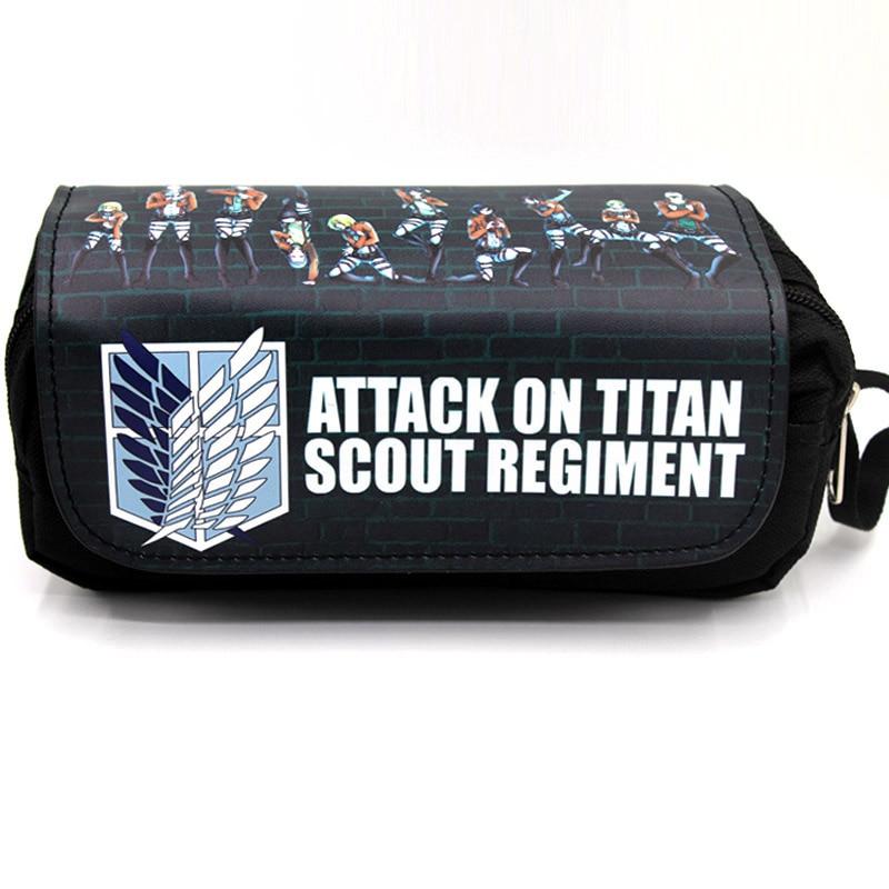 Estuche de lápices Anime Attack on Titan bolsa de maquillaje con cierre bolsa de papelería de dibujos animados para estudiantes