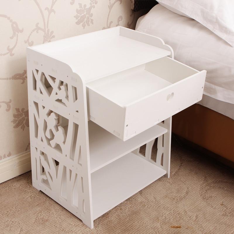 Modern bedside table European minimalist storage cabinet white assembled carved garden bedside cabinet lo829359