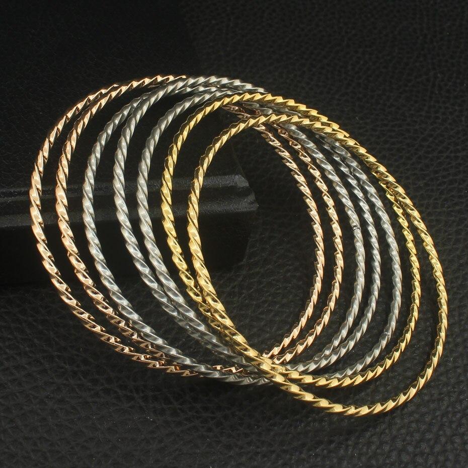 67mm Mais Recente Personalidade Simples Rodada BFAZAGBI 3 Cores Cuff Pulseiras Para As Mulheres De Jóias Em Aço Inoxidável