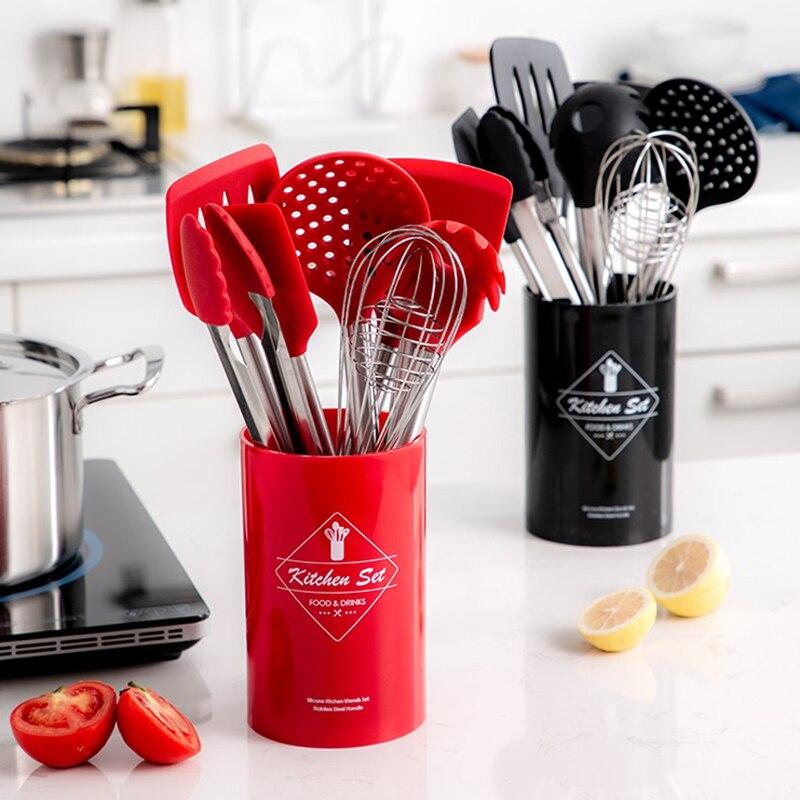 9 قطعة الفولاذ المقاوم للصدأ الغذاء الصف سيليكون ملعقة طبخ مغرفة حساء البيض ملعقة تيرنر أدوات مطبخ مجموعة أواني الطبخ