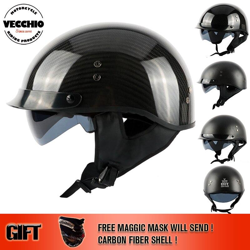 Fibra de carbono o fibra de vidrio casco moto vintage medio Casco de motocicleta Capacete Casco Jet cascos retro 888 tamaño M-2XL