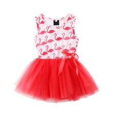 Animmal Flamingo impreso vestido para niñas lindo verano niñas Vestidos sin mangas 2018 moda nuevo vestido de tul princesa Vestidos