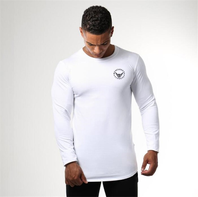 Muscleguys Quick Dry Compression Shirt Slim Fit Tees Men Gyms T-Shirts Bodybuilding Tops Fitness O-Neck Long Sleeve T Shirt