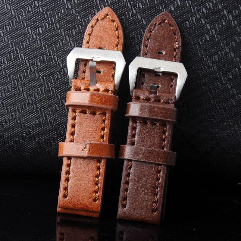 Correa de reloj de cuero de alta calidad de lujo de marca superior tamaño 24mm marrón claro marrón oscuro relojes resistentes correa de hebilla para hombres