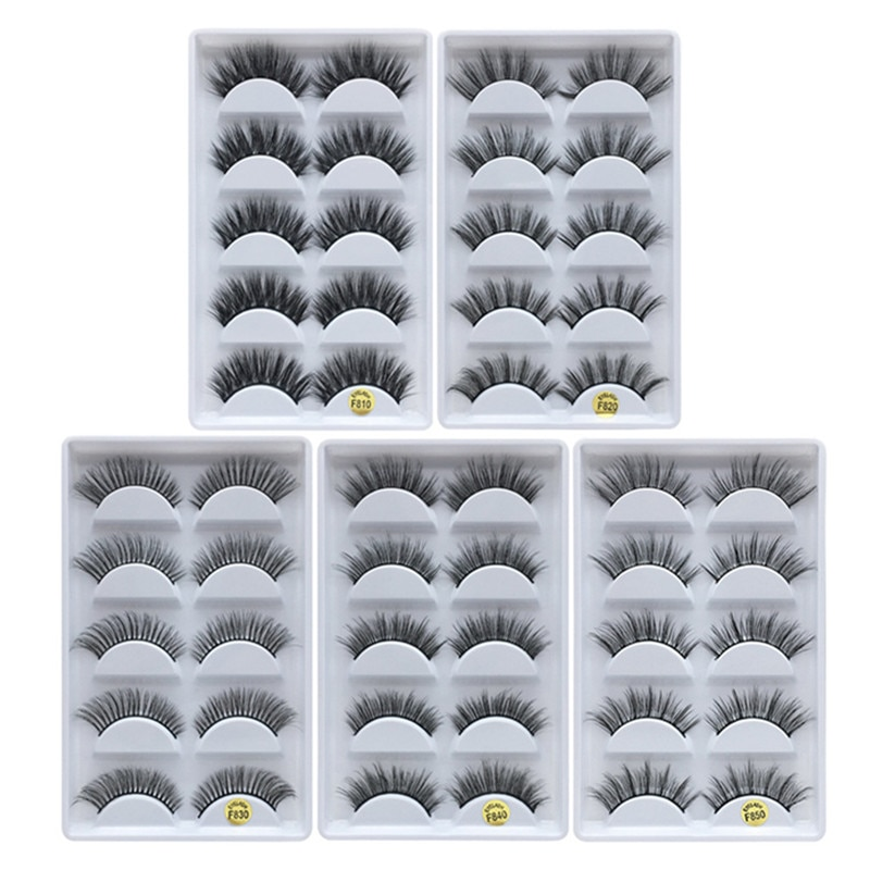MB 5 pairs Mink Eyelashes 3D False lashes Thick Crisscross Makeup Eyelash Extension faux cils Natural Volume Soft Fake Eye Lashe