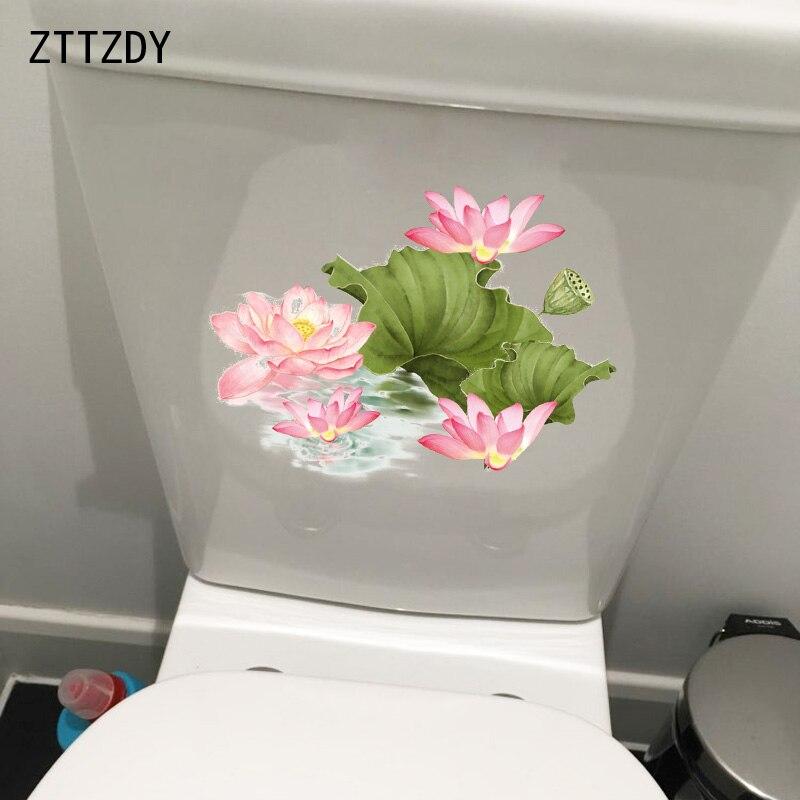 ZTTZDY 22.9*16.8 CENTÍMETROS Pintado Lotus Clássico Casa Quartos Adesivos de Parede WC Wc Decal Decor T2-0252