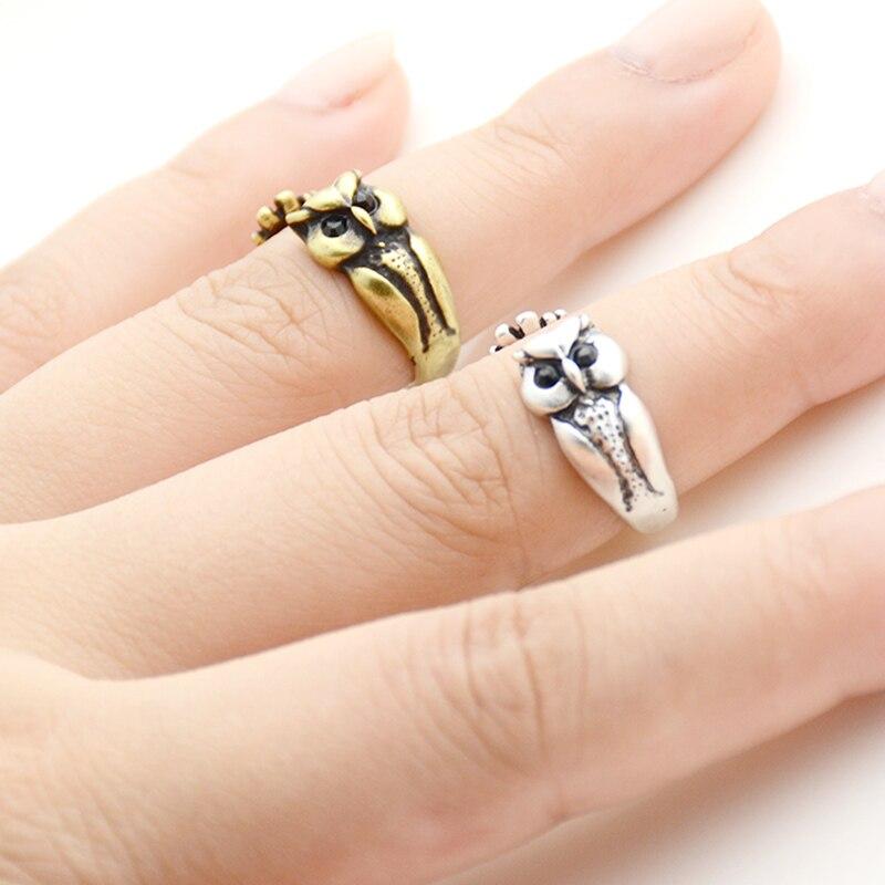 Antiguo Punk búho de la suerte con Ojo de cristal negro nudillo de latón anillo Boho pareja Anillos de Animal Anel Anillos para hombres y mujeres joyería