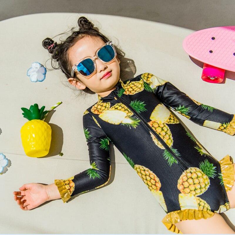 بدلة سباحة وقبعة بطبعة الأناناس للبنات ، ملابس سباحة للأطفال من سن 24 إلى 10 سنوات